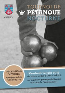 Tournoi de pétanque 2019 - Flyer recto