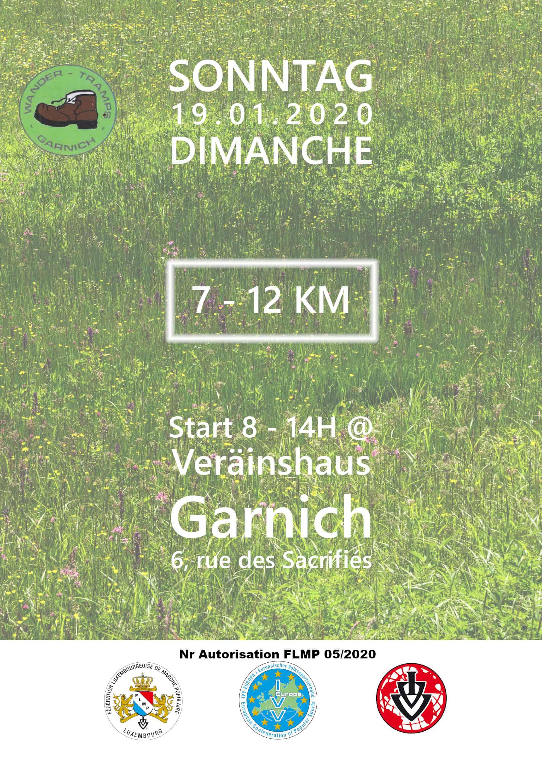 Affiche Wandertramps (Marche Populaire 19.1.2020)